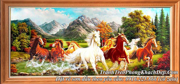 Hình ảnh tranh vẽ đàn ngựa 8 con chạy trên thảo nguyên bằng sơn dầu