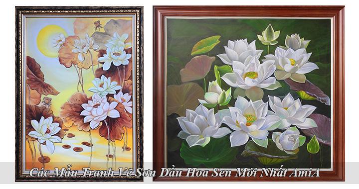 Ảnh đại diện các mẫu tranh sơn dầu hoa sen mới nhất