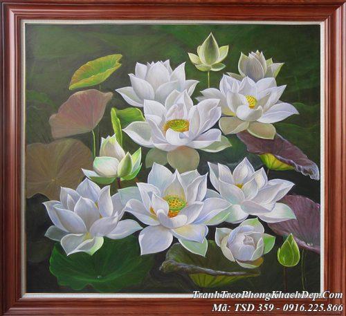 Tranh hoa Sen trắng tinh khôi vẽ sơn dầu nghệ thuật AmiA