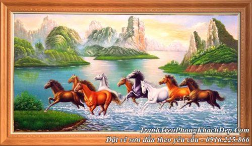 Hình ảnh tranh ngựa 8 con chạy qua sông giữa núi rừng sơn dầu