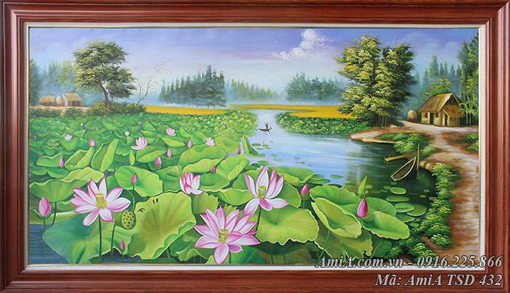Tranh vẽ cảnh hồ Sen ở làng quê khổ lớn mã Amia TSD 432
