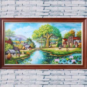 AmiA TSD 431 tranh toàn cảnh nông thôn sơn dầu