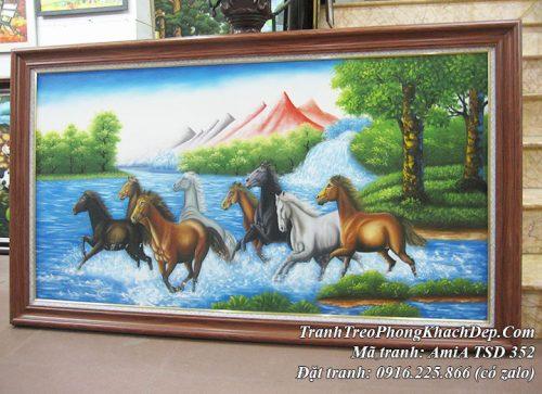 Hình ảnh tranh sơn vẽ đàn ngựa 8 con chạy trên sông suối trong rừng amiA TSD 352