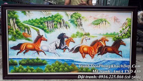 Tranh sơn dầu TSD 430 vẽ đàn ngựa 8 con chạy trong rừng suối