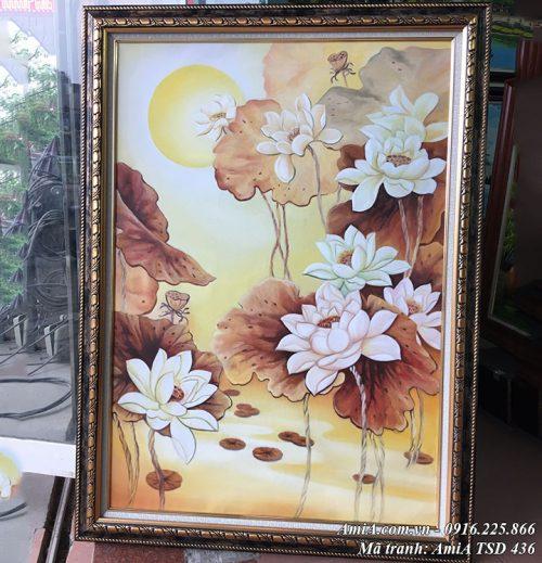 Tranh vẽ hoa Sen nghệ thuật khổ dọc TSD 436
