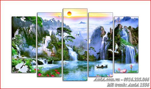 Tranh ghép bộ phong cảnh đẹp sơn thủy Trung quốc AmiA 1556
