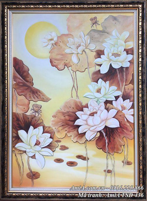 Tranh sơn dầu khổ đứng vẽ hoa sen nghệ thuật AmiA TSD 436