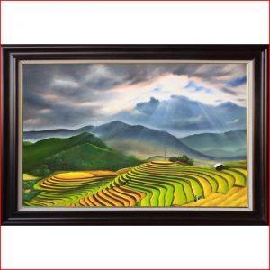 Vẽ tranh phong cảnh sơn dầu ruộng bậc thang theo yêu cầu