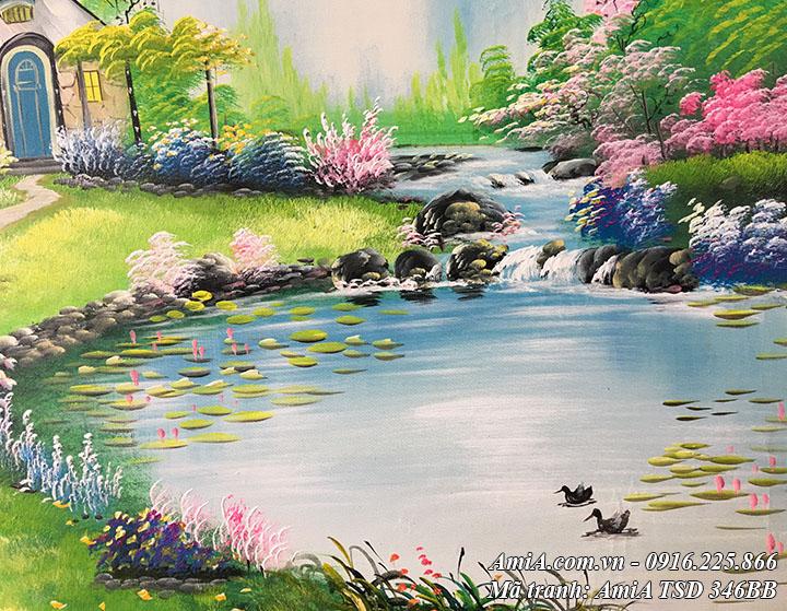 Hồ nước trước nhà với đôi uyên ương trong tranh sơn dầu TSD 346B