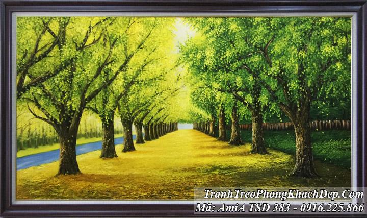 Tranh sơn dầu TSD 383 hàng cây vẽ sơn dầu
