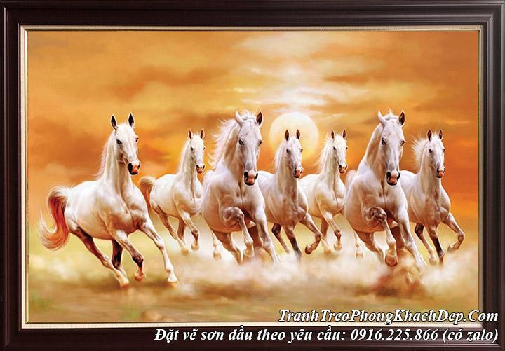 Hình ảnh tranh mã đáo thành công sơn dầu 8 con