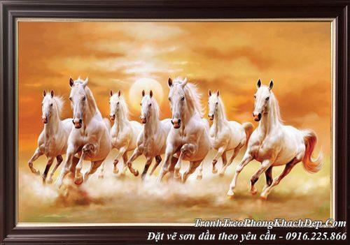 AmiA nhận vẽ tranh sơn dầu 8 con bạch mã ngựa trắng dưới mặt trời