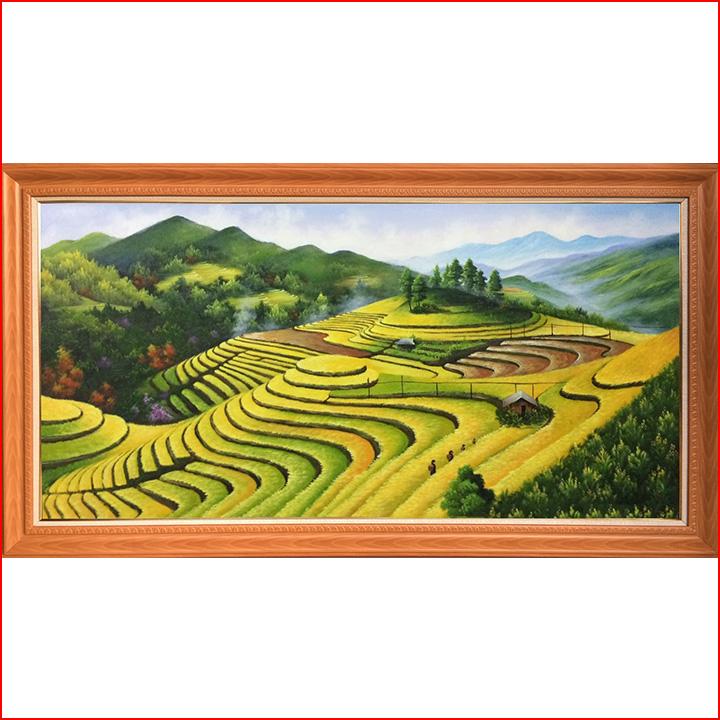 AmiA nhận vẽ tranh phong cảnh ruộng bậc thang sơn dầu khổ lớn