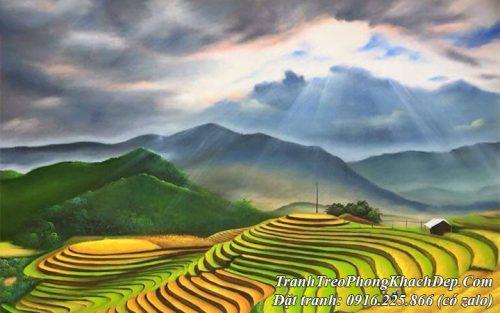 AmiA nhận vẽ tranh sơn dầu ruộng bậc thang theo yêu cầu tại Hà Nội