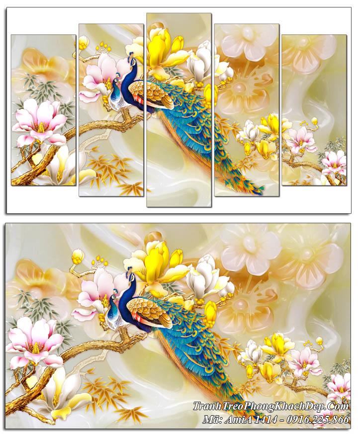 Tranh đôi chim công song phụng mộc lan 3D AmiA 1414