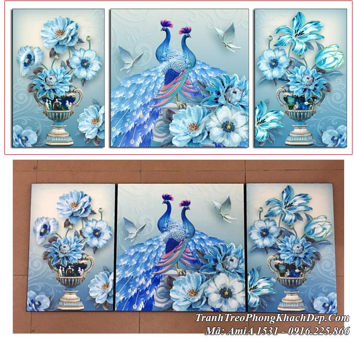 Tranh đôi chim công Amia 1532 màu xanh phú quý