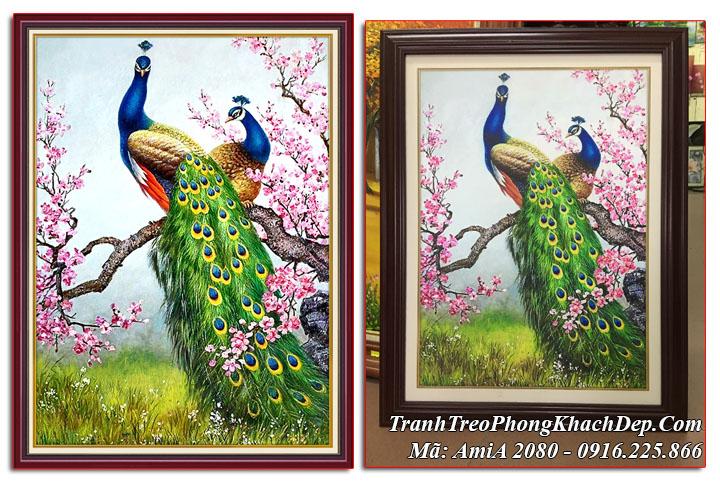 Tranh chim công trên cành hoa đào đón Xuân khổ dọc AmiA 2080