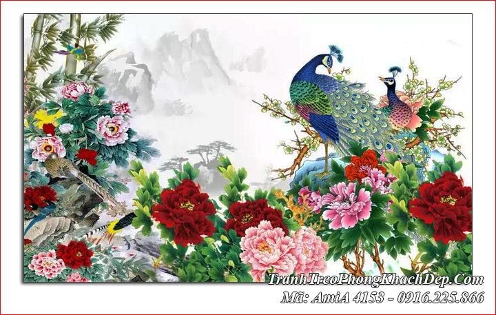 Tranh treo phòng khách chim công hoa mẫu đơn Amia 4153
