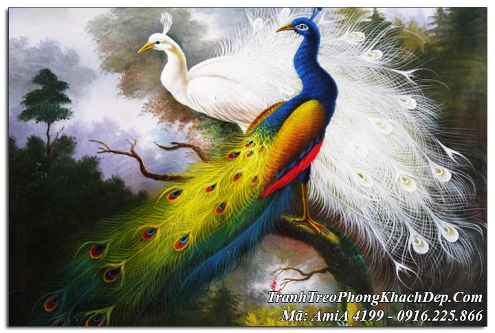 Tranh treo tường đôi chim công màu xanh trắng AmiA 4199