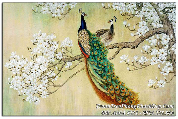 Tranh chim công khổ 60x80cm in vải canvas Amia 4231