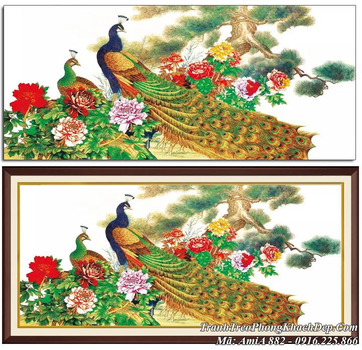 Tranh treo phòng khách đẹp Amia 882 đôi chim công hoa mẫu đơn tùng bách
