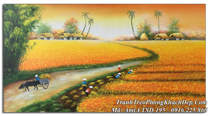 Tranh sơn dầu amia TSD 195 vẽ cánh đồng quê mùa gặt lúa khổ lớn