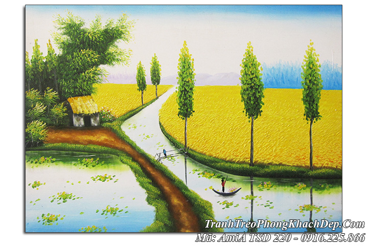 Tranh sơn dầu đồng quê lúa chín Việt Nam Amia TSD 220