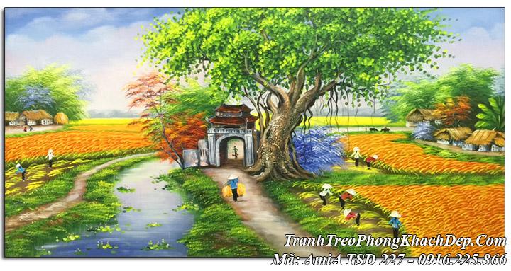 Tranh sơn dầu Amia 227 vẽ cánh đồng quê mùa thu hoạch lúa
