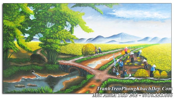 Tranh sơn dầu Amia 242 phong cảnh nông dân gặt lúa