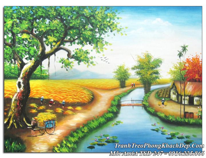 Tranh sơn dầu Amia 247 sơn dầu phong cảnh đẹp làng quê
