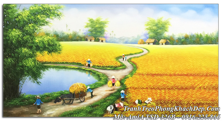 Tranh sơn dầu Amia 326 cánh đồng lúa chín khổ lớn