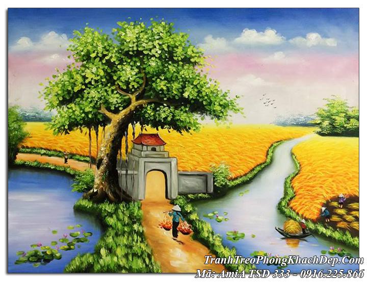 Tranh sơn dầu Amia 333 tranh vẽ cánh đồng lúa chín phong cảnh quê hương