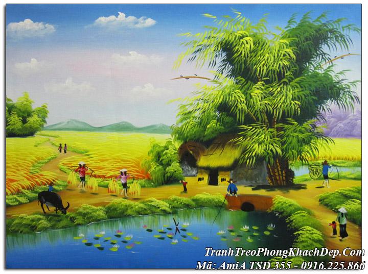 Tranh sơn dầu AmiA 355 vẽ cảnh đồng quê Việt Nam