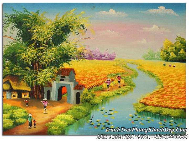 Tranh sơn dầu Amia 357A vẽ cảnh đồng quê gặt lúa