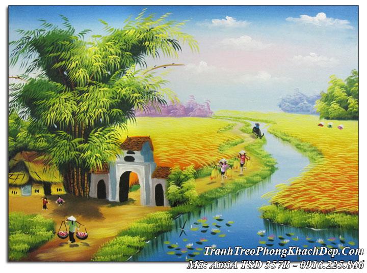 Tranh sơn dầu Amia 357B vẽ phong cảnh bà con gặt lúa