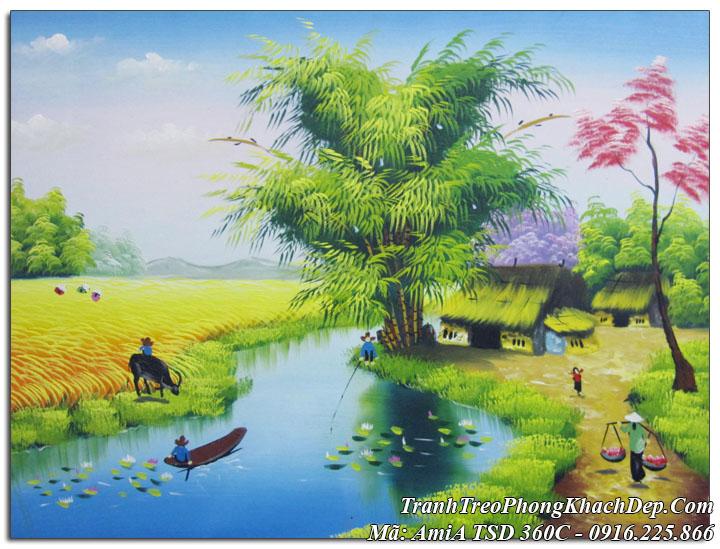 Tranh sơn dầu Amia 360C vẽ cánh đồng quê lúa chín bên bờ sông