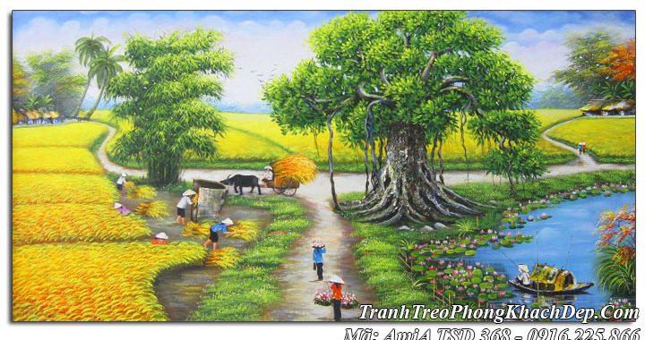 Tranh sơn dầu amia 368 vẽ bà con gặt lúa ngày mùa