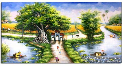 Tranh phong cảnh khổ lớn đường làng quê sơn dầu TSD 388D