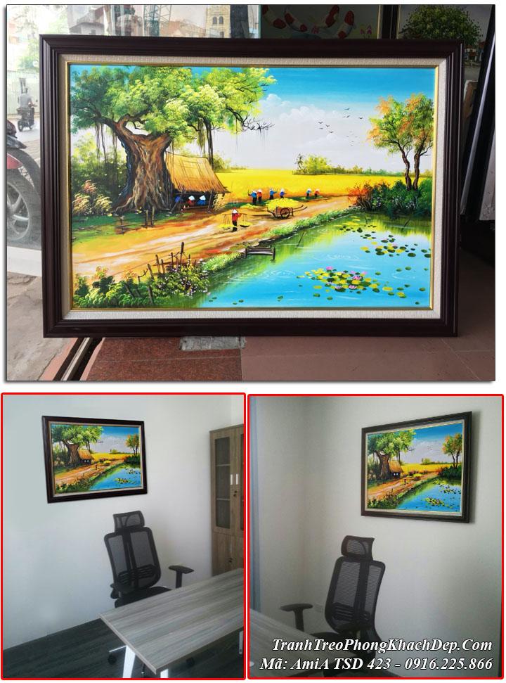 Tranh sơn dầu Amia 423 vẽ cánh đồng lúa chín thực tế