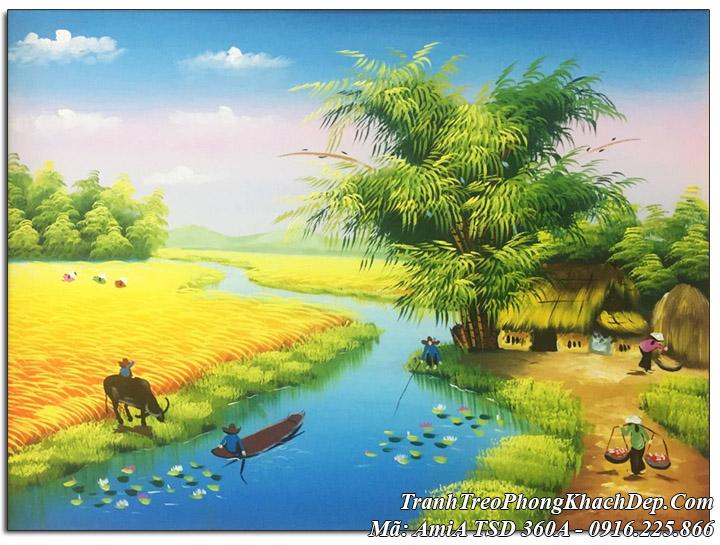 Tranh vẽ cánh đồng quê em Amia 360 sơn dầu