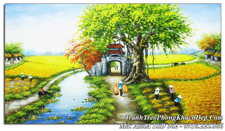 Tranh sơn dầu Amia 362 vẽ đồng quê mùa lúa chín