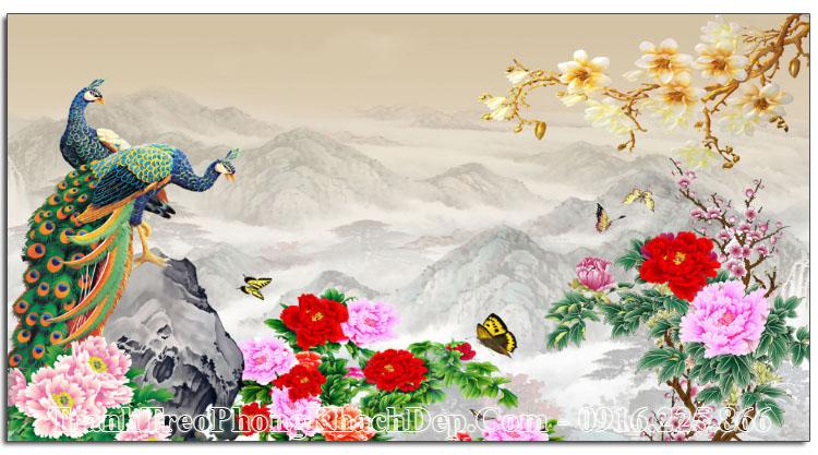 Tranh phong thủy chim công treo tường amia OP15696024
