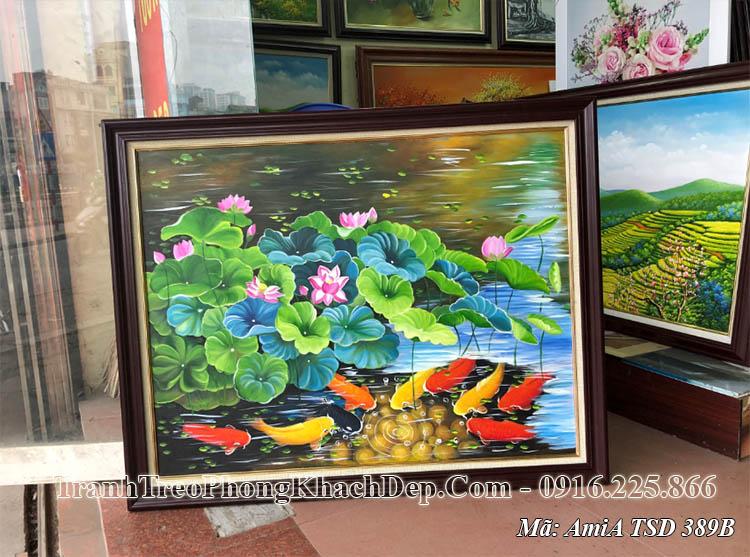 Tranh sơn dầu cá chép hoa sen AmiA TSD 389B