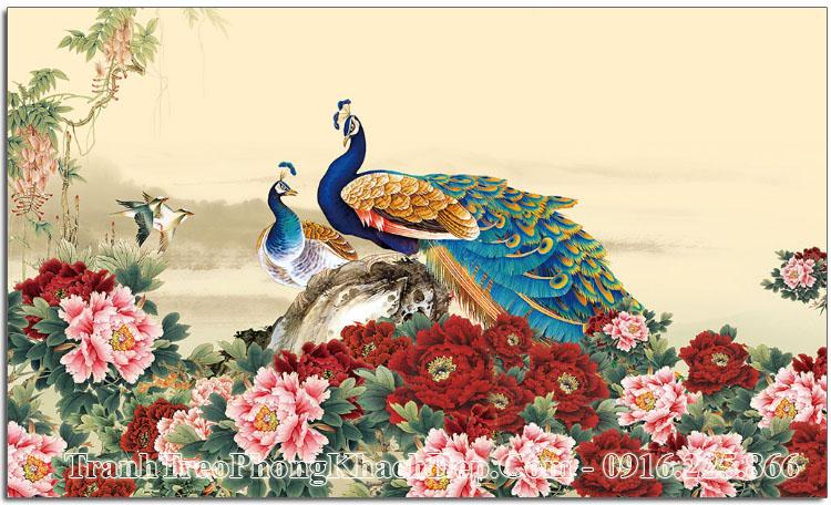 Tranh chim công AmiA OPTranh đôi chim công AmiA OP 15227057 chim công hoa mẫu đơn