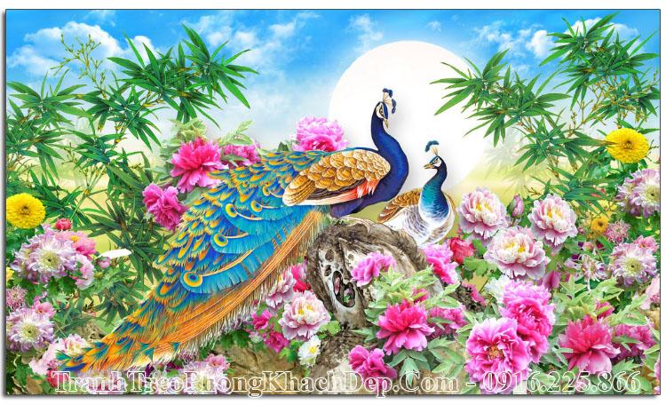 Tranh dưới trăng đôi chim công hoa mẫu đơn Amia OP17574842