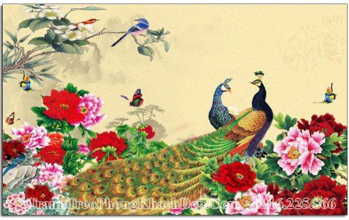 Tranh AmiA OP17093885 chim công hoa mẫu đơn vintage