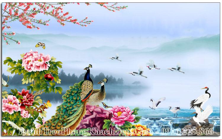 Tranh treo phòng khách đẹp ý nghĩa đôi chim công Amia OP15728354