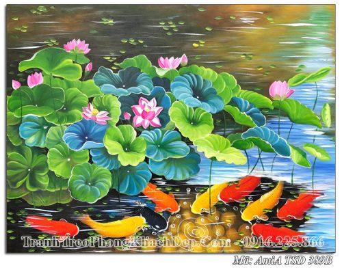 Tranh sơn dầu khổ nhỏ cá chép hoa sen AmiA TSD 389B