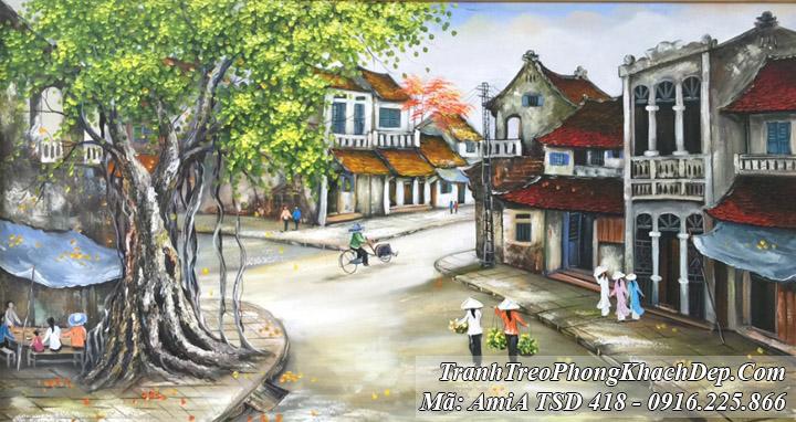 Tranh vẽ ngã 3 đường nơi phố cổ Amia TSD 418