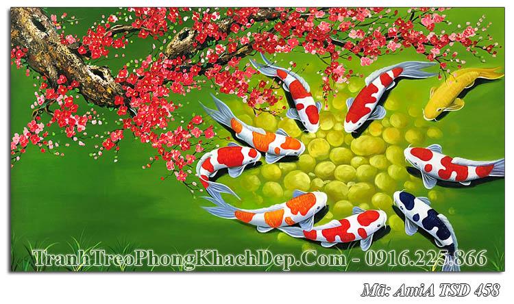 Tranh sơn dầu đẹp ý nghĩa cá chép hoa đào Amia 458